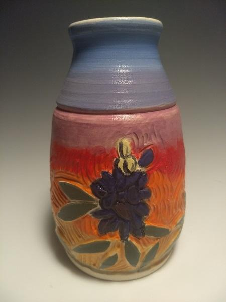 Bud vase, Bluebonnets and Sunset
