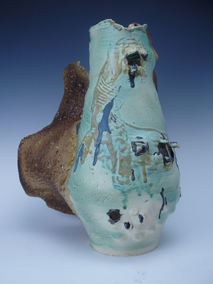 Wing, 14 in x 12 in x 12 in, thrown, scratched, altered, stoneware and porcelain; slips, glaze, bronze luster, dirt, asphalt, rocks, duff, 2014