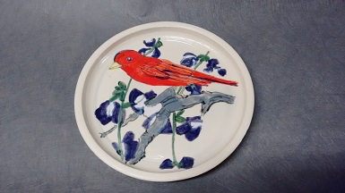 painted bunting, stoneware 9 in dia