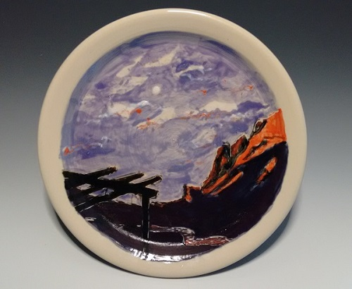 "Moonrise Over the Rio Grande, 10"" plate, $45"