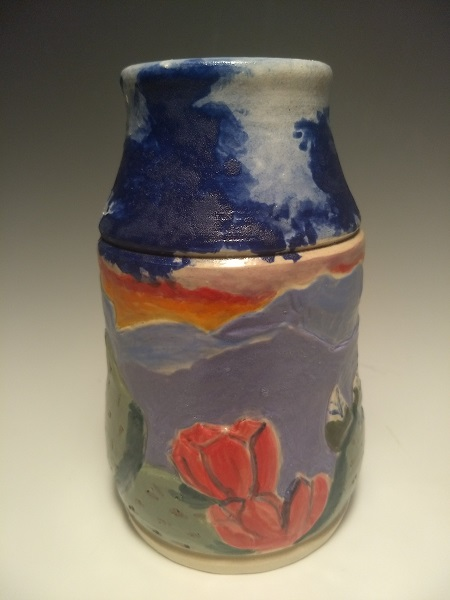 "Beavertail Cactus, Texas Wildflower series, thrown and carved bud vase,  stoneware, 3.5"" w x 6"" h, $45"