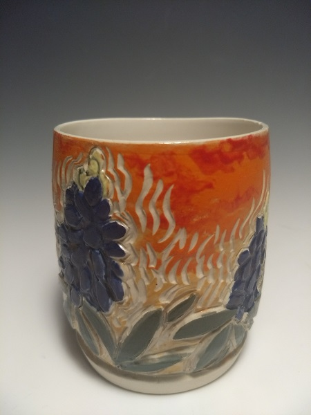 "Bluebonnets chuan, Texas Wildflower series, thrown and carved stoneware tea bowl with scgrafito, 3.5"""" w x 4"", $50"