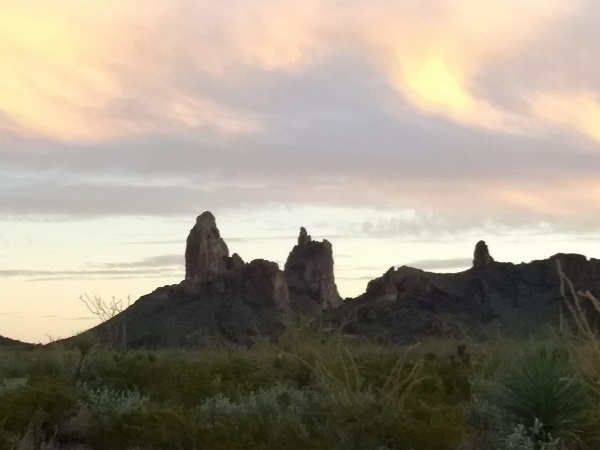 The Mule Ears at sunset, Big Bend National Park
